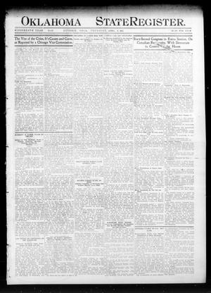 Primary view of object titled 'Oklahoma State Register. (Guthrie, Okla.), Vol. 19, No. 52, Ed. 1 Thursday, April 6, 1911'.