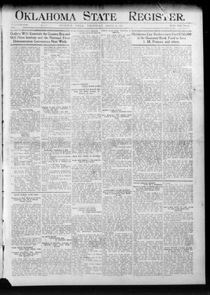 Primary view of Oklahoma State Register. (Guthrie, Okla.), Vol. 20, No. 21, Ed. 1 Thursday, August 31, 1911