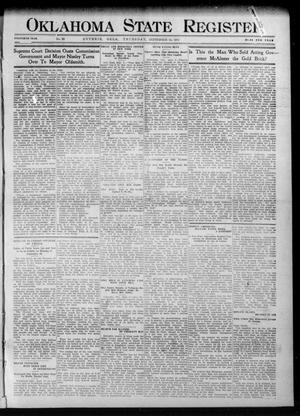Primary view of object titled 'Oklahoma State Register. (Guthrie, Okla.), Vol. 20, No. 23, Ed. 1 Thursday, September 14, 1911'.