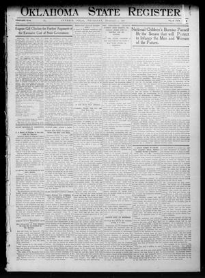 Primary view of object titled 'Oklahoma State Register. (Guthrie, Okla.), Vol. 20, No. 38, Ed. 1 Thursday, February 1, 1912'.