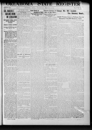 Primary view of object titled 'Oklahoma State Register. (Guthrie, Okla.), Vol. 20, No. 41, Ed. 1 Thursday, February 22, 1912'.