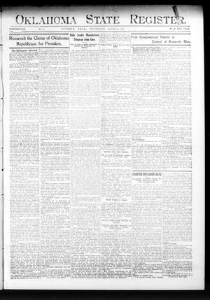 Primary view of object titled 'Oklahoma State Register. (Guthrie, Okla.), Vol. 20, No. 44, Ed. 1 Thursday, March 14, 1912'.