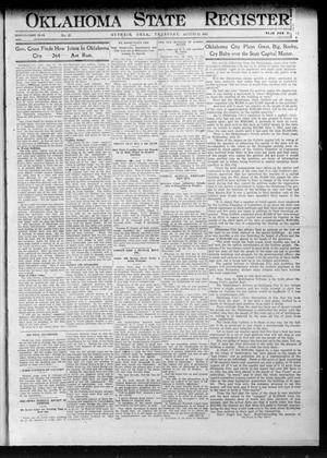 Primary view of object titled 'Oklahoma State Register. (Guthrie, Okla.), Vol. 21, No. 15, Ed. 1 Thursday, August 22, 1912'.