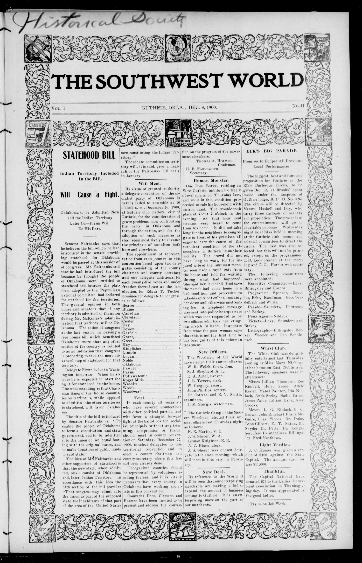 The Southwest World (Guthrie, Okla.), Vol. 1, No. 41, Ed. 1 Saturday, December 8, 1900                                                                                                      [Sequence #]: 1 of 8