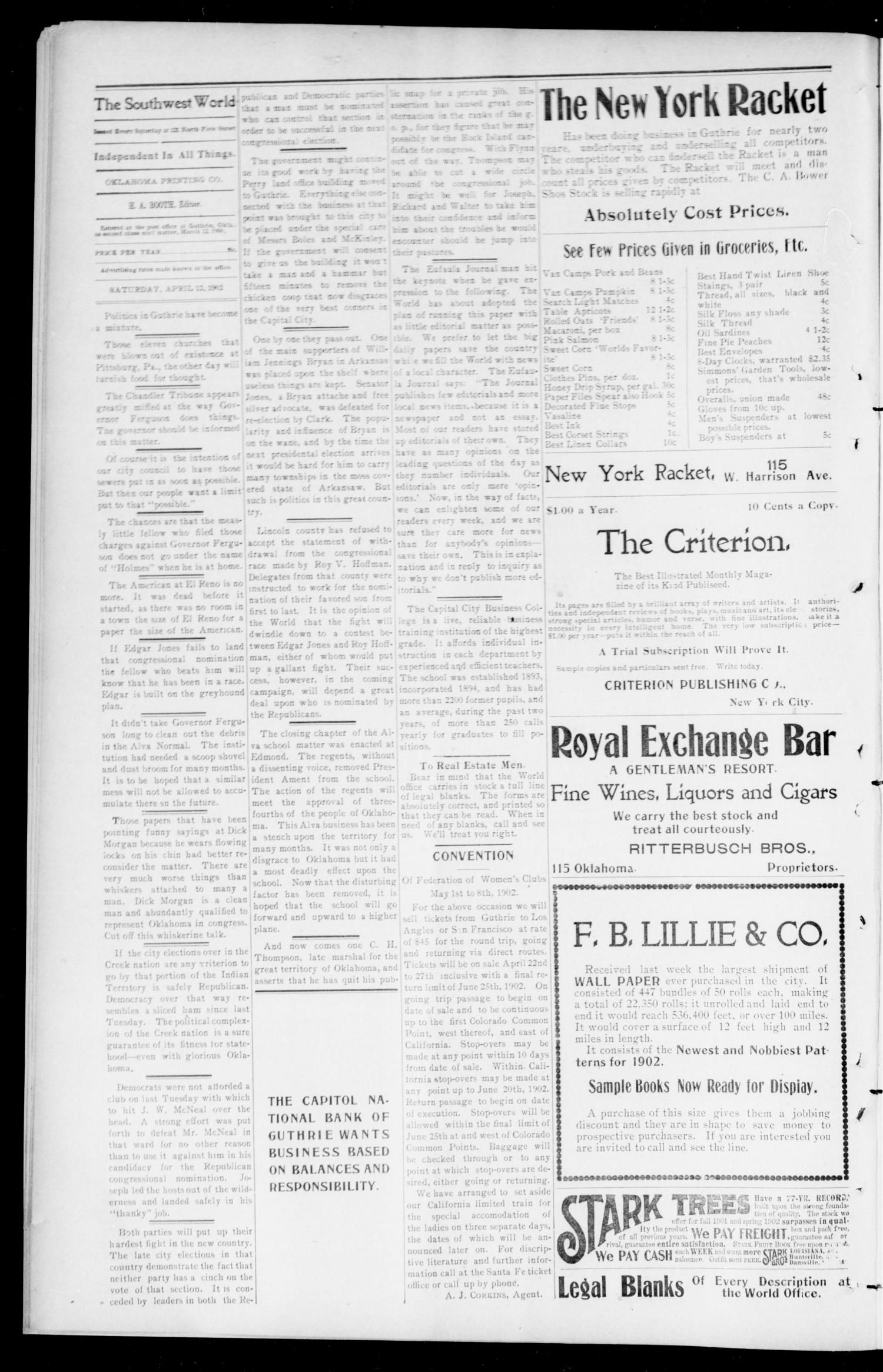 The Southwest World (Guthrie, Okla.), Vol. 3, No. 7, Ed. 1 Saturday, April 12, 1902                                                                                                      [Sequence #]: 4 of 8
