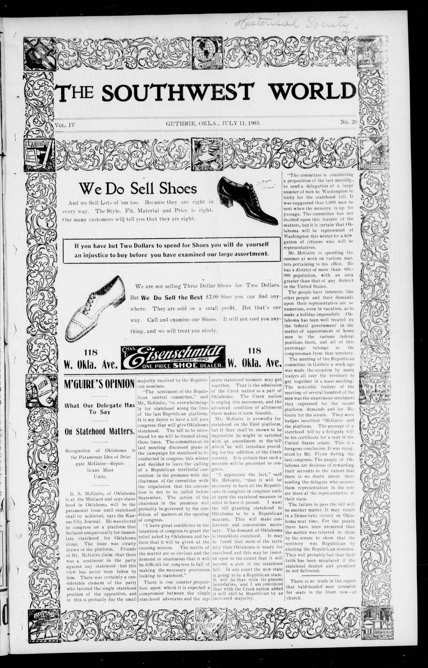 The Southwest World (Guthrie, Okla.), Vol. 4, No. 20, Ed. 1 Saturday, July 11, 1903                                                                                                      [Sequence #]: 1 of 8