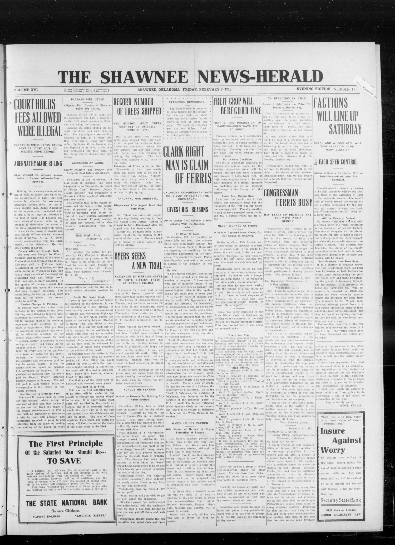 The Shawnee News-Herald (Shawnee, Okla.), Vol. 16, No. 174, Ed. 1 Friday, February 9, 1912                                                                                                      [Sequence #]: 1 of 6
