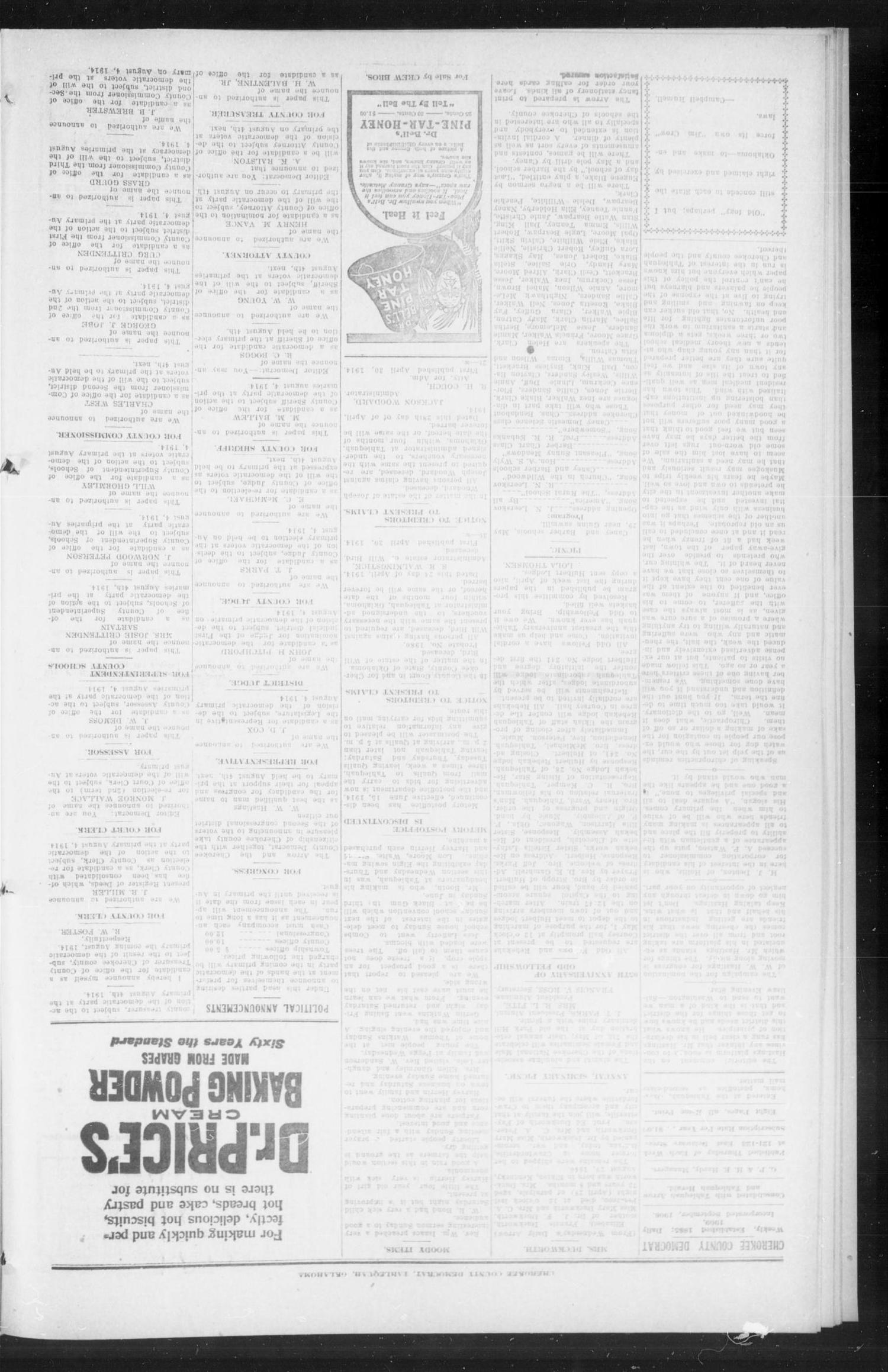 Cherokee County Democrat (Tahlequah, Okla.), Vol. 27, No. 33, Ed. 1 Thursday, April 30, 1914                                                                                                      [Sequence #]: 4 of 8
