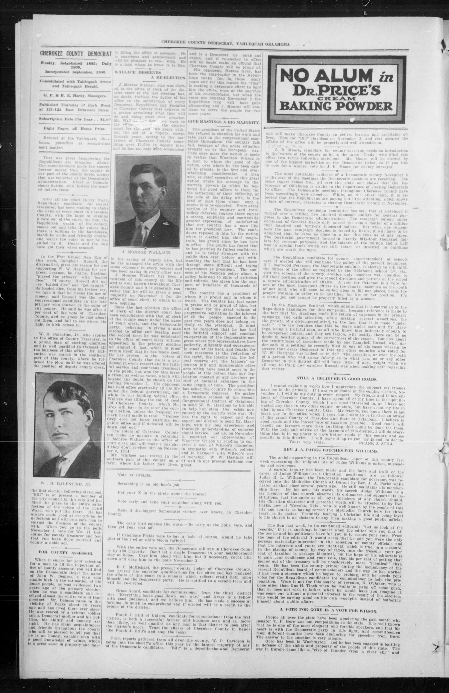 Cherokee County Democrat (Tahlequah, Okla.), Vol. 29, No. 6, Ed. 1 Thursday, October 22, 1914                                                                                                      [Sequence #]: 2 of 8