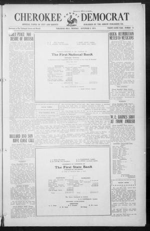 Primary view of object titled 'Cherokee County Democrat (Tahlequah, Okla.), Vol. 29, No. 52, Ed. 1 Thursday, September 9, 1915'.