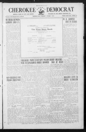 Primary view of object titled 'Cherokee County Democrat (Tahlequah, Okla.), Vol. 30, No. 56, Ed. 1 Thursday, October 7, 1915'.