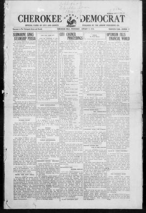 Primary view of object titled 'Cherokee County Democrat (Tahlequah, Okla.), Vol. 30, No. 17, Ed. 1 Wednesday, January 5, 1916'.