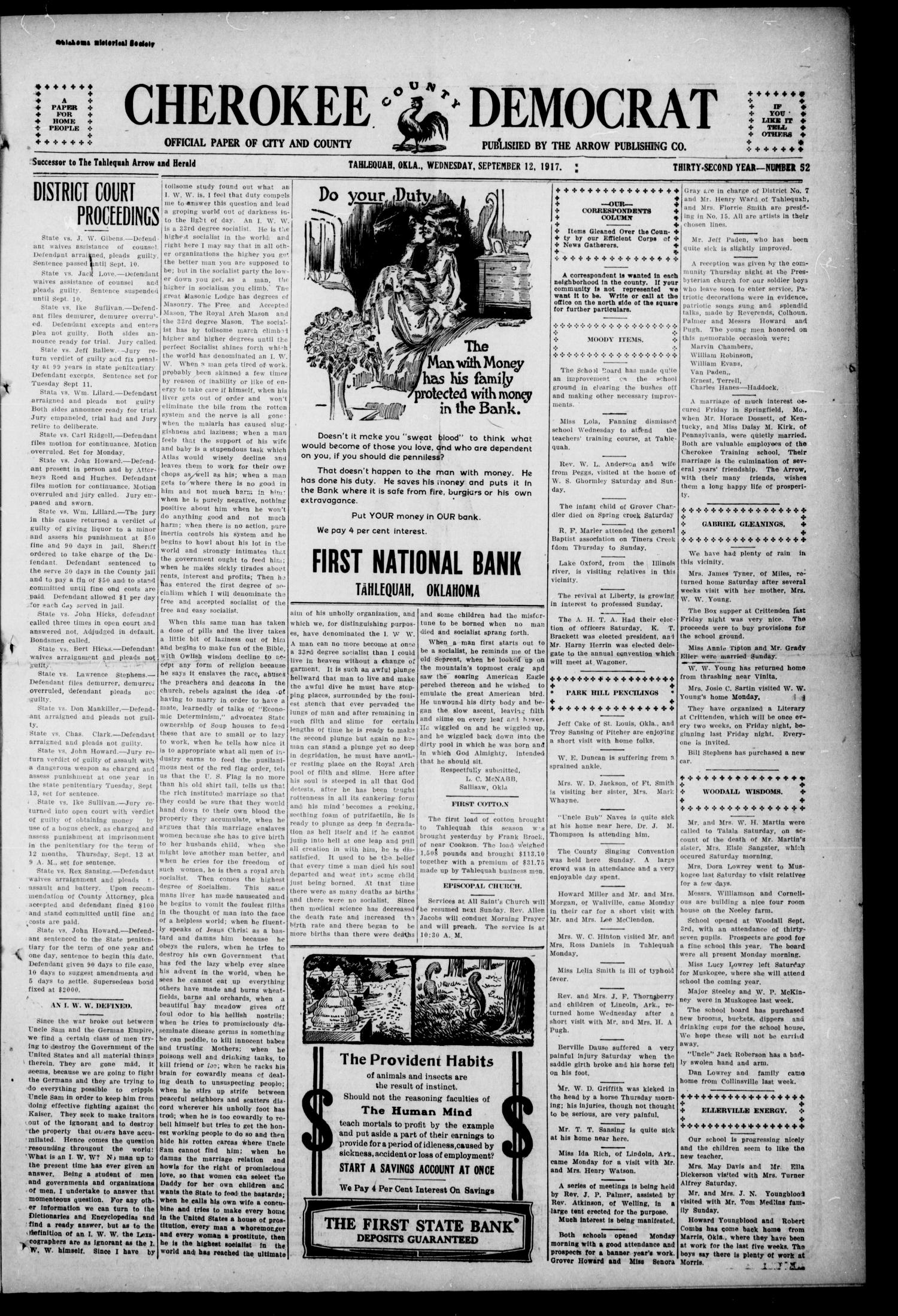 Cherokee County Democrat (Tahlequah, Okla.), Vol. 32, No. 52, Ed. 1 Wednesday, September 12, 1917                                                                                                      [Sequence #]: 1 of 4