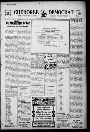 Primary view of object titled 'Cherokee County Democrat (Tahlequah, Okla.), Vol. 33, No. 4, Ed. 1 Wednesday, October 10, 1917'.