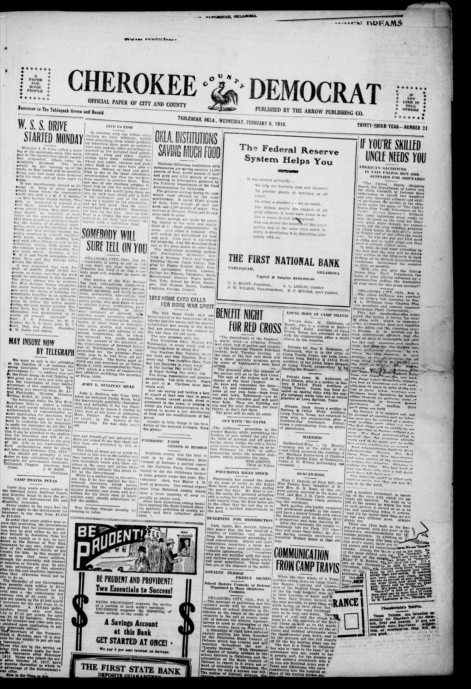 Cherokee County Democrat (Tahlequah, Okla.), Vol. 33, No. 21, Ed. 1 Wednesday, February 6, 1918                                                                                                      [Sequence #]: 1 of 4