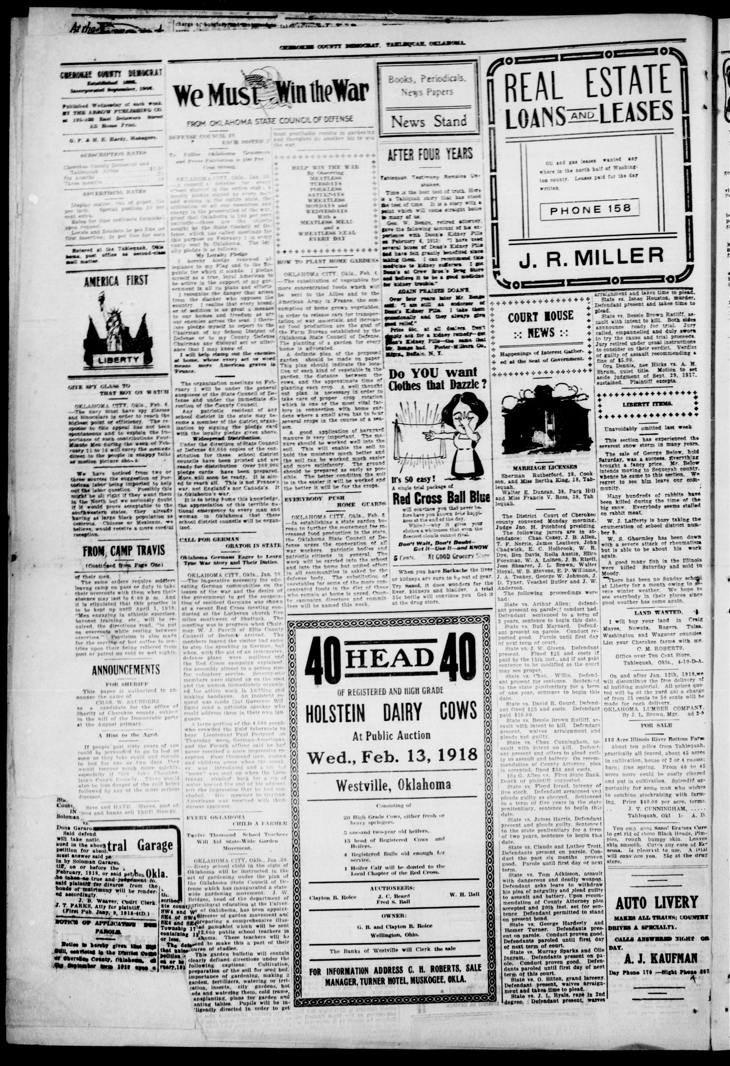 Cherokee County Democrat (Tahlequah, Okla.), Vol. 33, No. 21, Ed. 1 Wednesday, February 6, 1918                                                                                                      [Sequence #]: 2 of 4