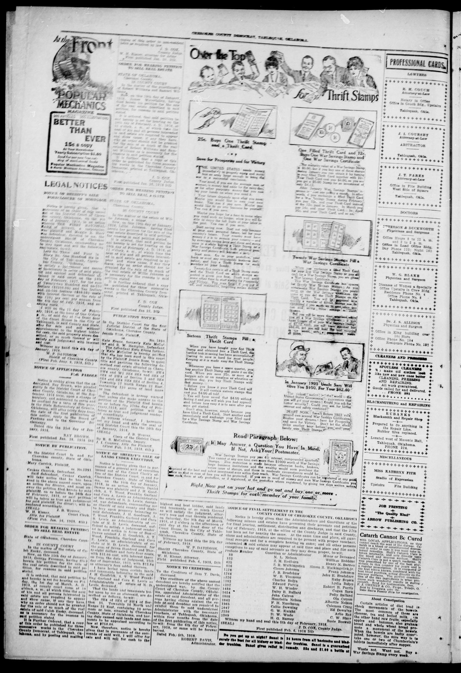 Cherokee County Democrat (Tahlequah, Okla.), Vol. 33, No. 21, Ed. 1 Wednesday, February 6, 1918                                                                                                      [Sequence #]: 4 of 4
