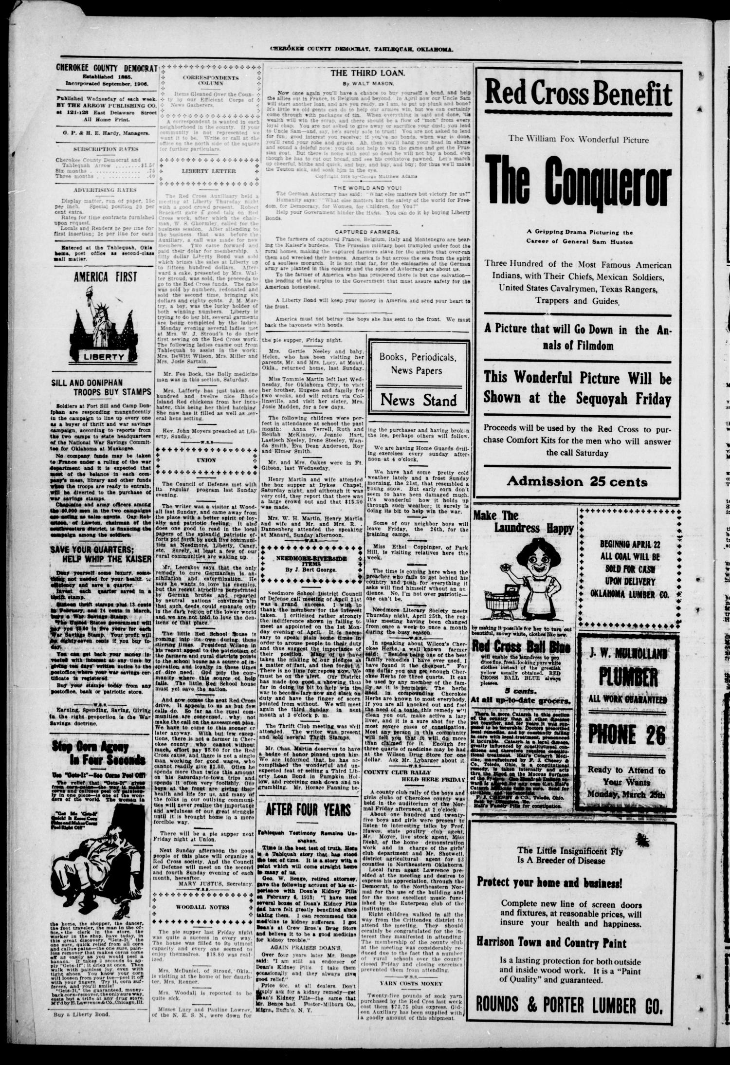 Cherokee County Democrat (Tahlequah, Okla.), Vol. 33, No. 32, Ed. 1 Wednesday, April 24, 1918                                                                                                      [Sequence #]: 2 of 4