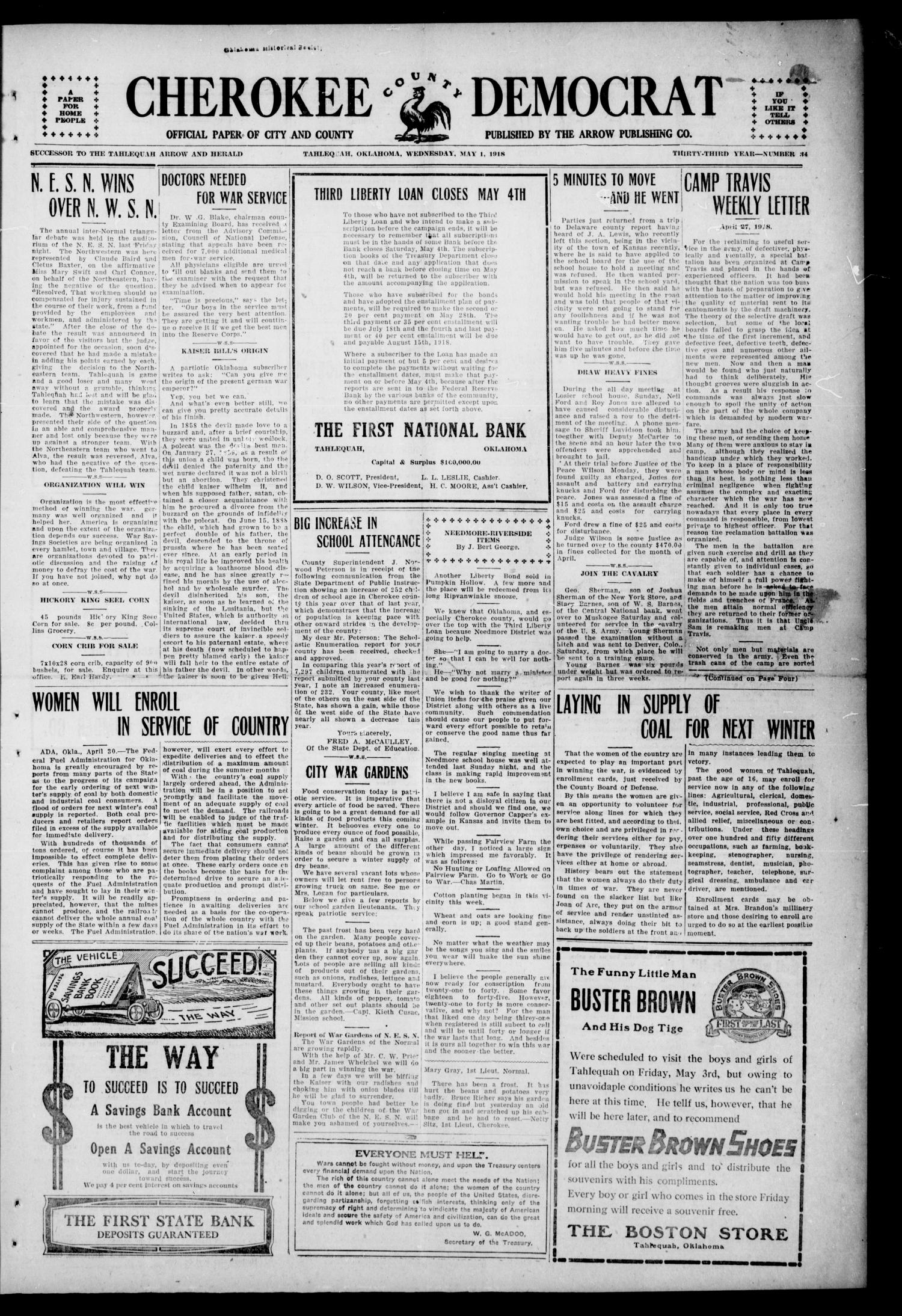 Cherokee County Democrat (Tahlequah, Okla.), Vol. 33, No. 33, Ed. 1 Wednesday, May 1, 1918                                                                                                      [Sequence #]: 1 of 4