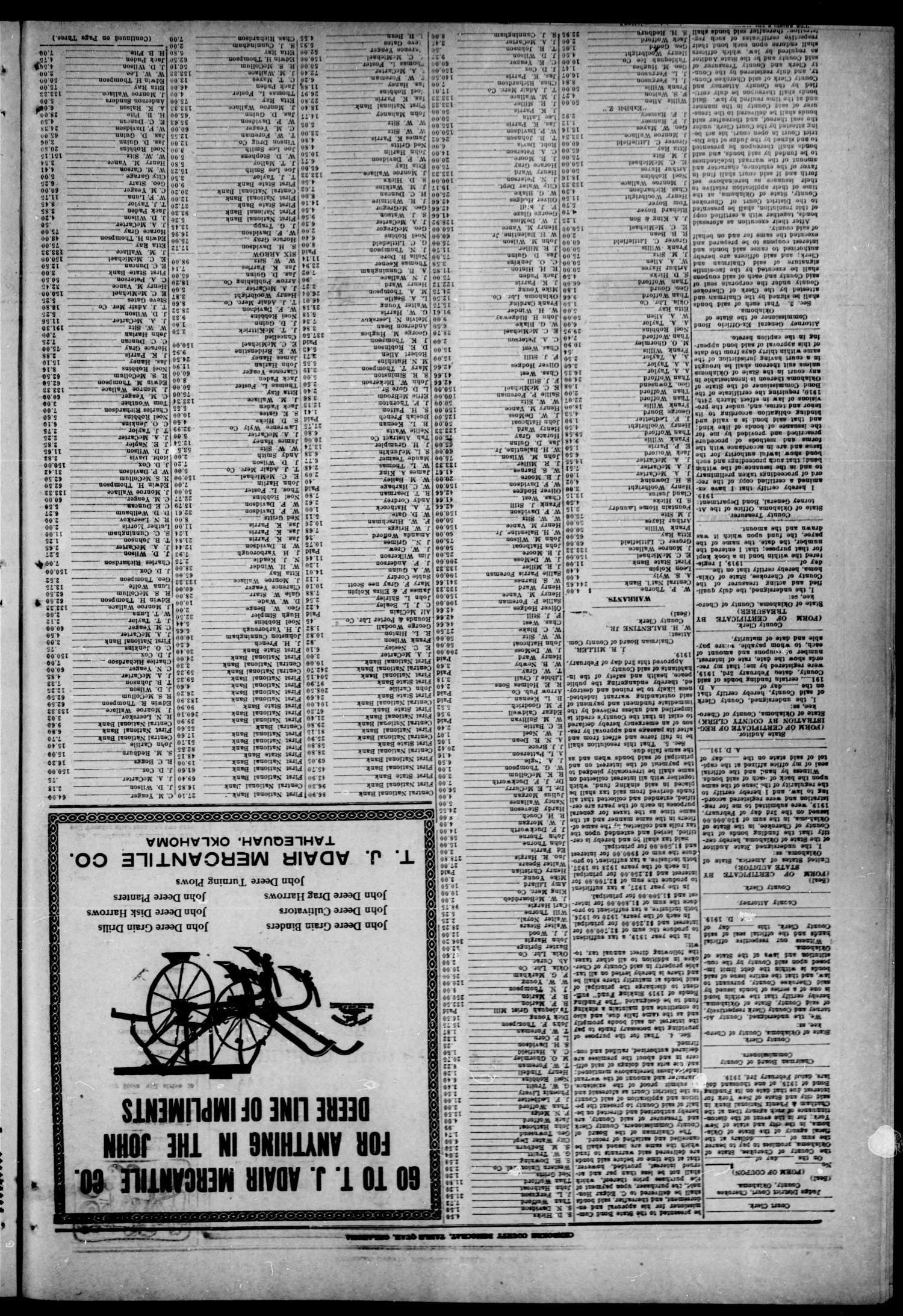 Cherokee County Democrat (Tahlequah, Okla.), Vol. 34, No. 12, Ed. 1 Wednesday, February 12, 1919                                                                                                      [Sequence #]: 4 of 4