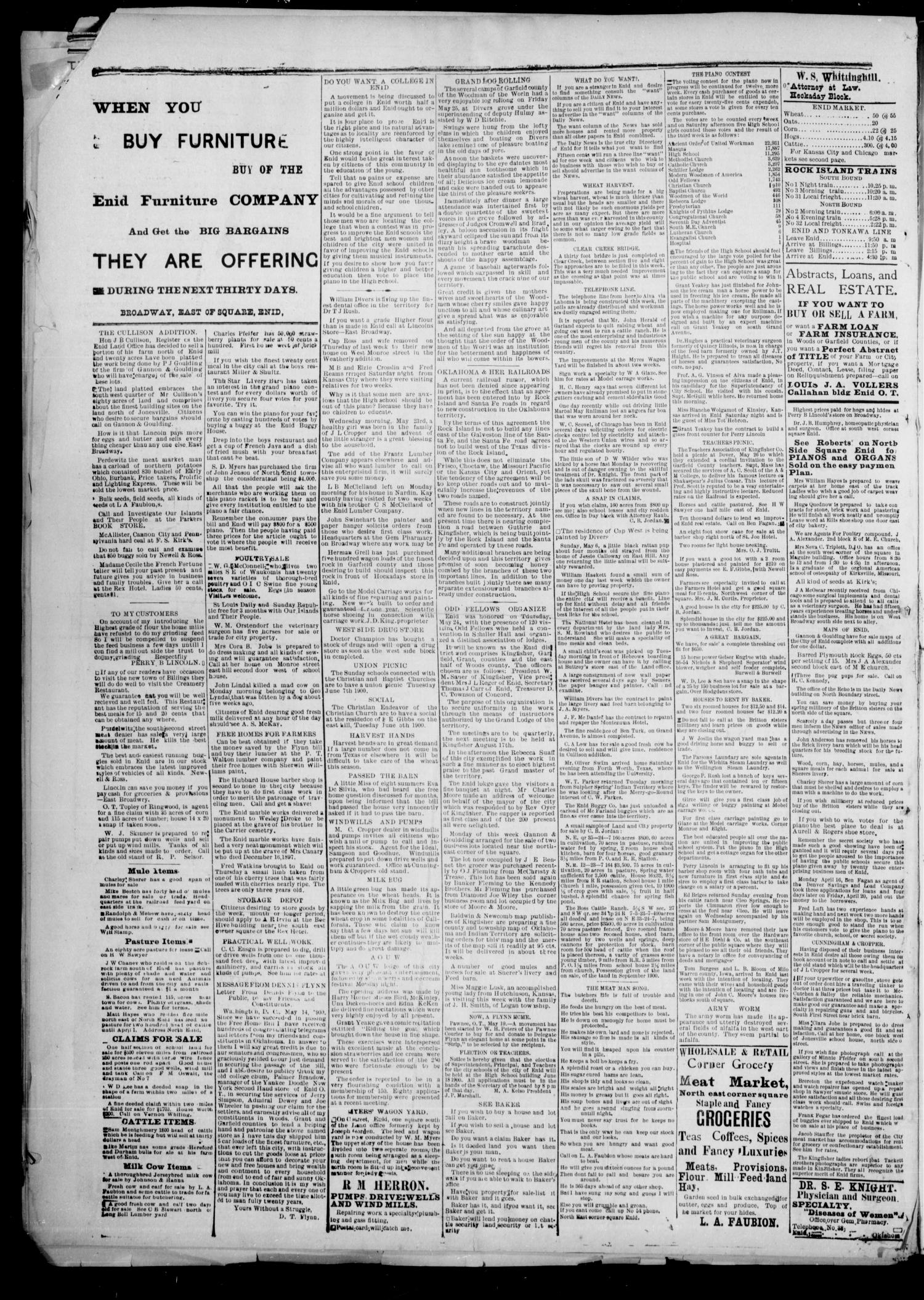 The Enid Echo. (Enid, Okla.), Vol. 1, No. 29, Ed. 1 Wednesday, May 30, 1900                                                                                                      [Sequence #]: 4 of 4