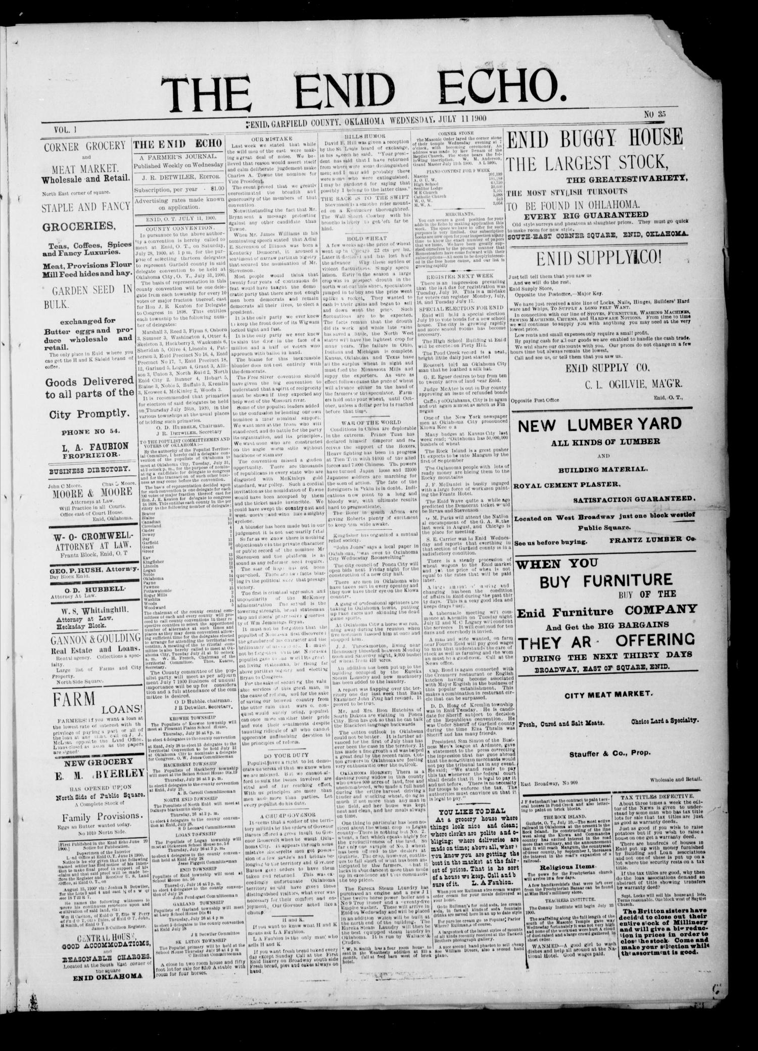 The Enid Echo. (Enid, Okla.), Vol. 1, No. 35, Ed. 1 Wednesday, July 11, 1900                                                                                                      [Sequence #]: 1 of 4