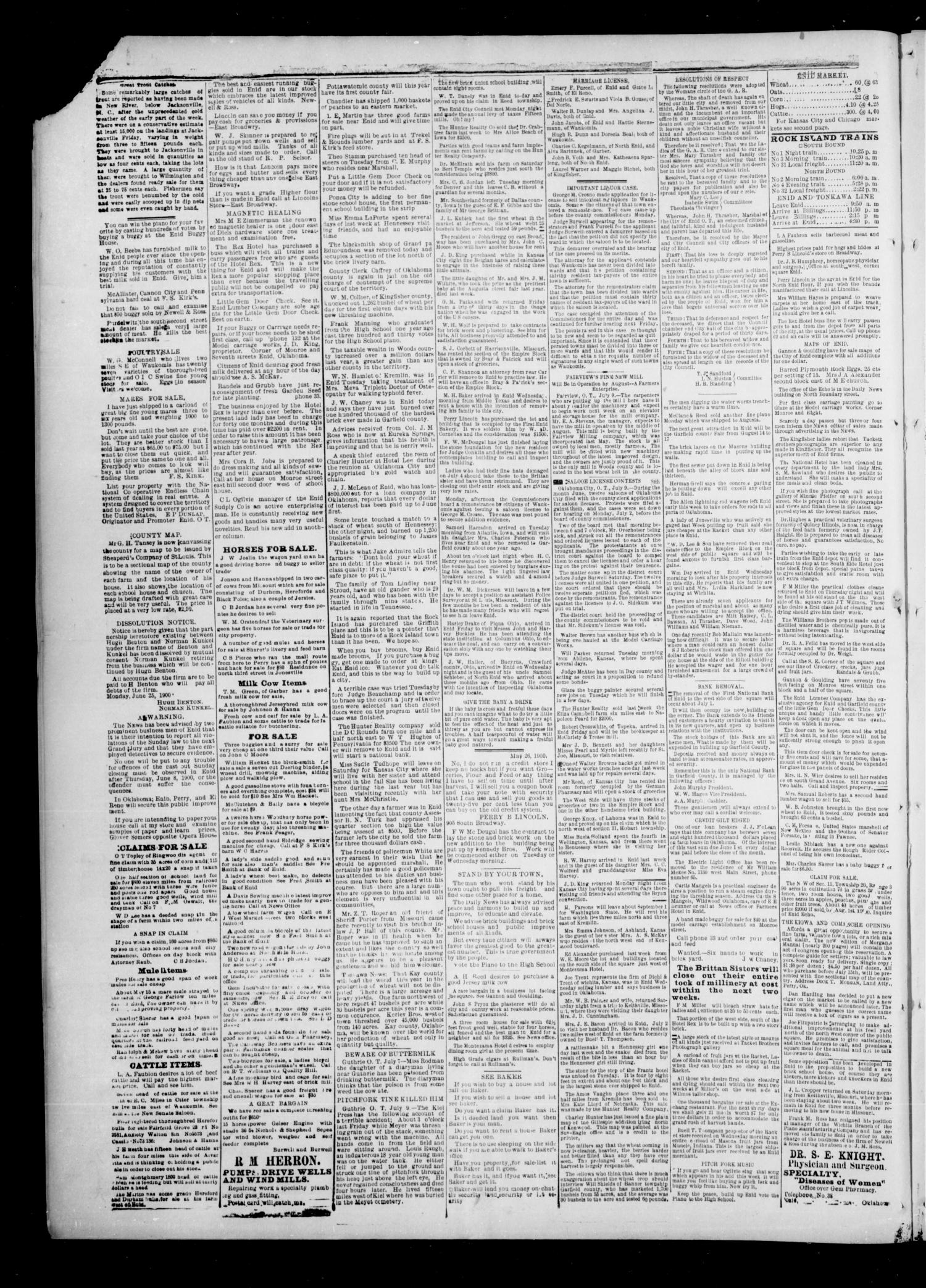 The Enid Echo. (Enid, Okla.), Vol. 1, No. 35, Ed. 1 Wednesday, July 11, 1900                                                                                                      [Sequence #]: 4 of 4
