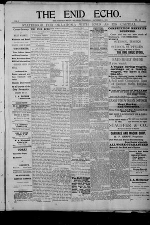 Primary view of The Enid Echo. (Enid, Okla.), Vol. 2, No. 44, Ed. 1 Wednesday, September 4, 1901