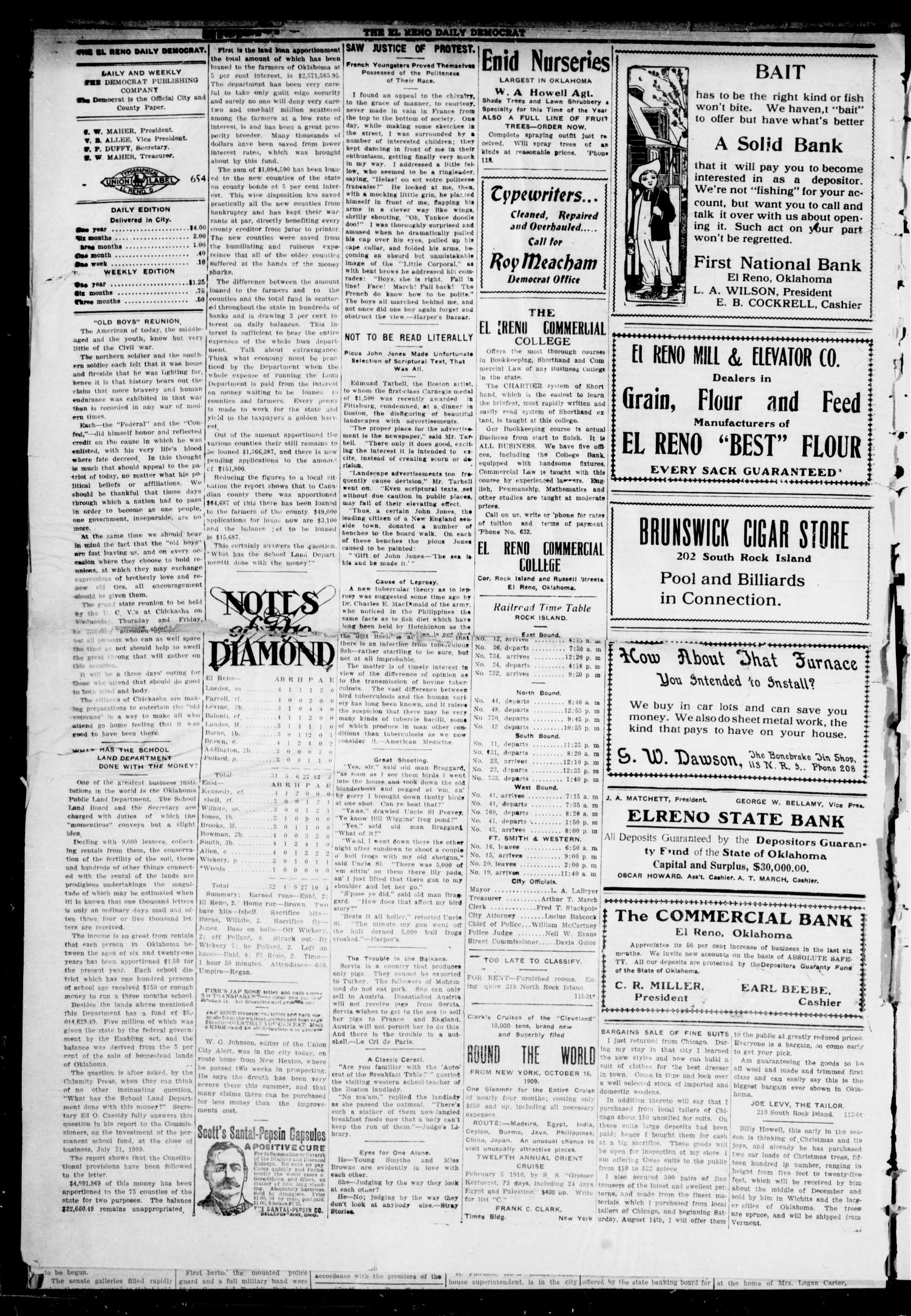 El Reno Daily Democrat (El Reno, Okla.), Vol. 9, No. 115, Ed. 1 Monday, August 16, 1909                                                                                                      [Sequence #]: 2 of 4