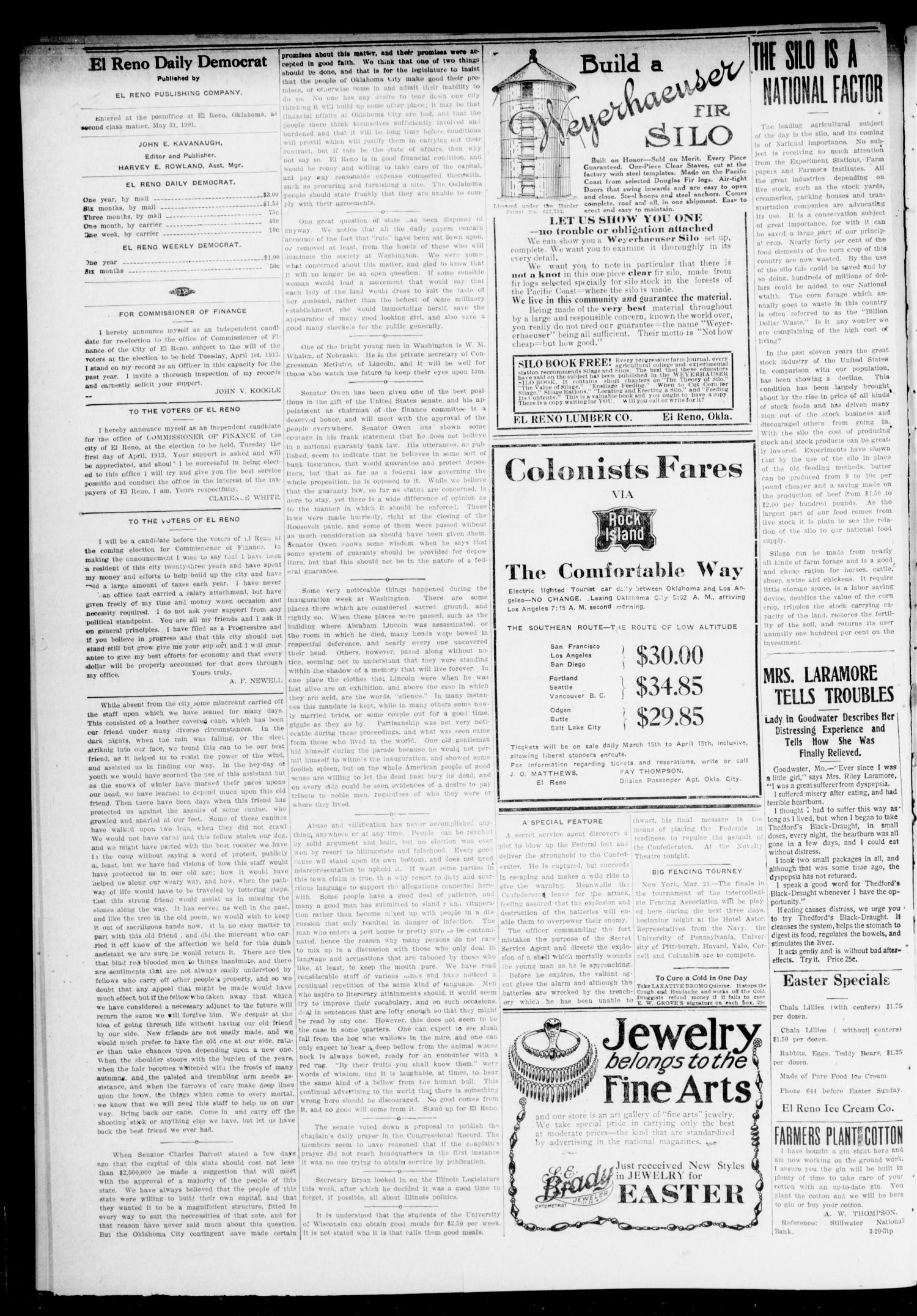 El Reno Daily Democrat (El Reno, Okla.), Vol. 22, No. 293, Ed. 1 Saturday, March 22, 1913                                                                                                      [Sequence #]: 2 of 4