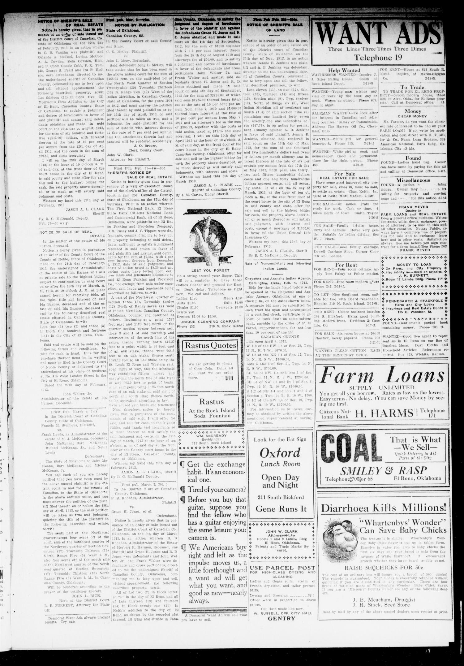 El Reno Daily Democrat (El Reno, Okla.), Vol. 22, No. 293, Ed. 1 Saturday, March 22, 1913                                                                                                      [Sequence #]: 3 of 4