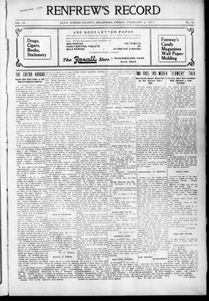 Primary view of Renfrew's Record (Alva, Okla.), Vol. 10, No. 12, Ed. 1 Friday, February 3, 1911