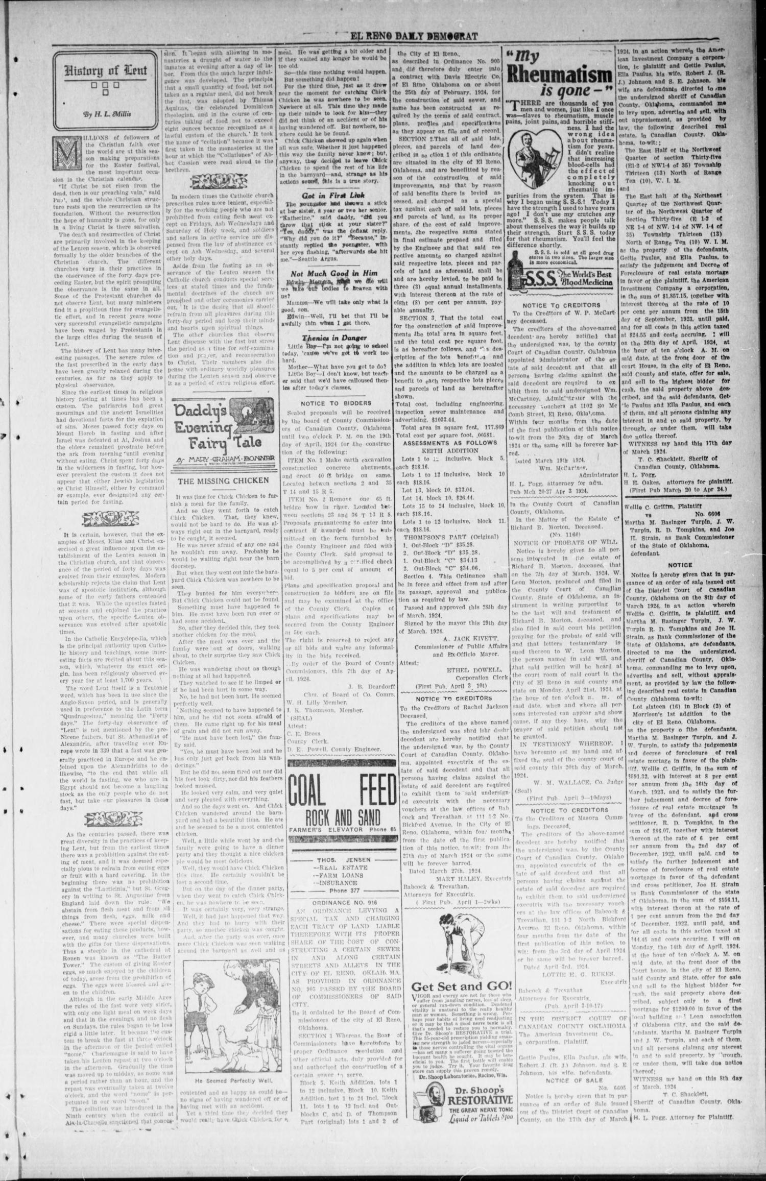 The El Reno Daily Democrat (El Reno, Okla.), Vol. 33, No. 186, Ed. 1 Monday, April 14, 1924                                                                                                      [Sequence #]: 3 of 4