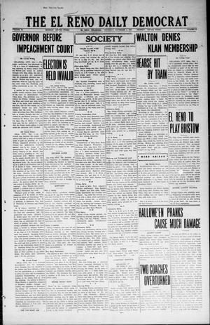 Primary view of object titled 'The El Reno Daily Democrat (El Reno, Okla.), Vol. 33, No. 49, Ed. 1 Thursday, November 1, 1923'.