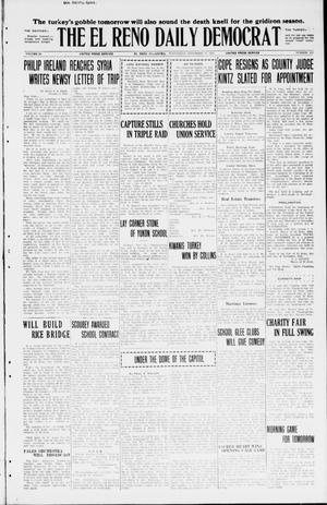 Primary view of object titled 'The El Reno Daily Democrat (El Reno, Okla.), Vol. 34, No. 273, Ed. 1 Wednesday, November 25, 1925'.