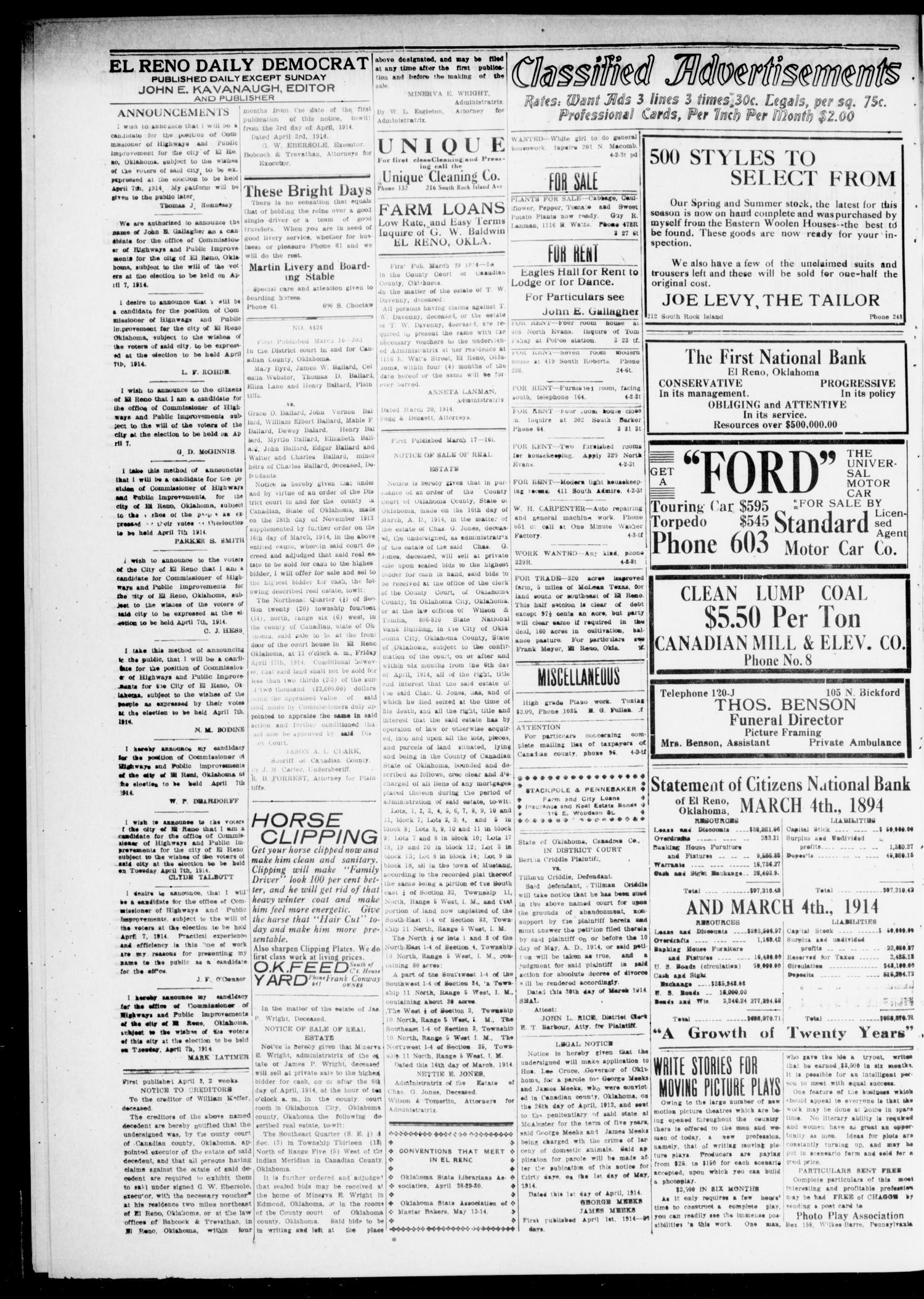 El Reno Daily Democrat (El Reno, Okla.), Vol. 24, No. 30, Ed. 1 Saturday, April 4, 1914                                                                                                      [Sequence #]: 2 of 4