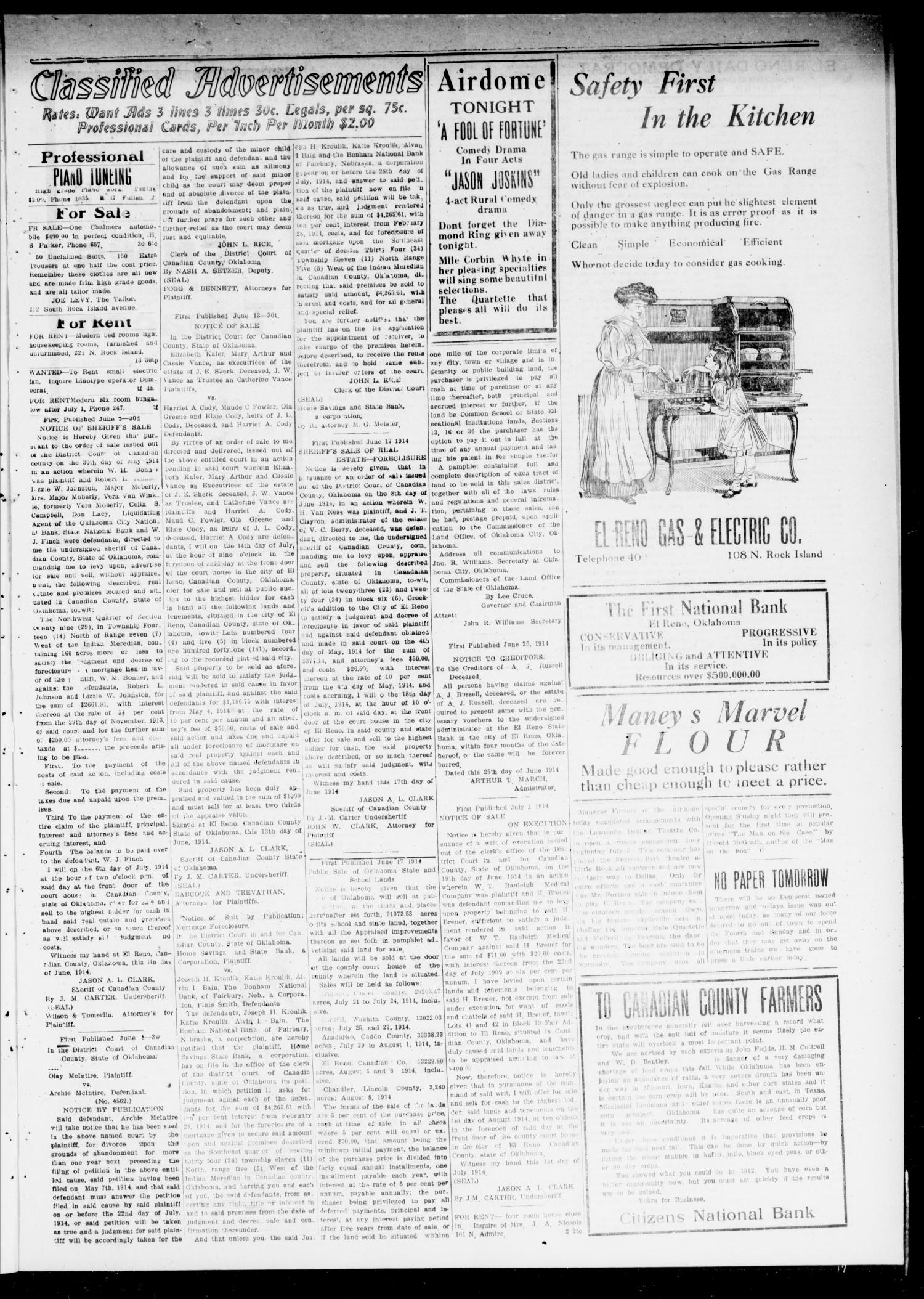 The El Reno Daily Democrat (El Reno, Okla.), Vol. 24, No. 112, Ed. 1 Friday, July 3, 1914                                                                                                      [Sequence #]: 3 of 4