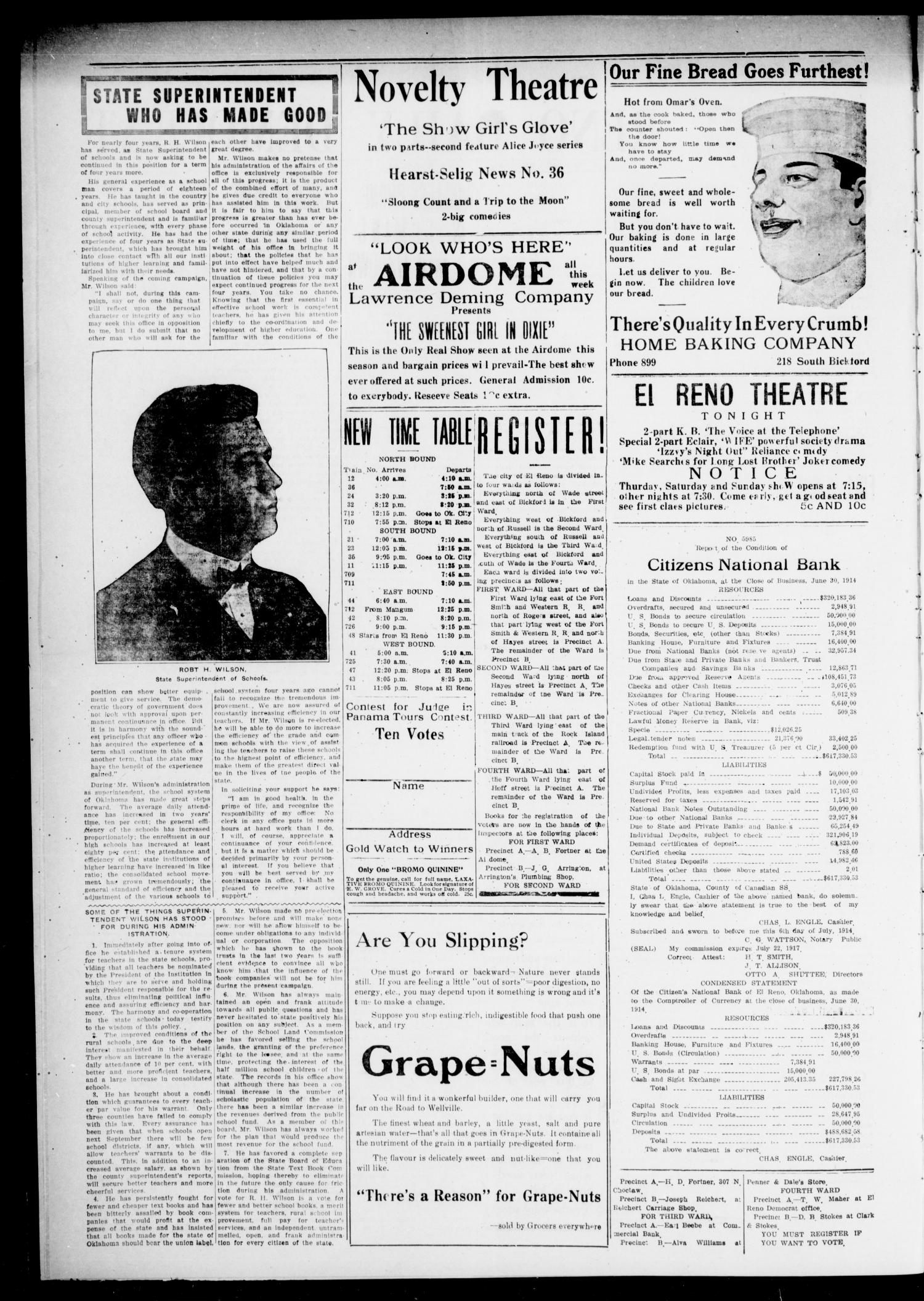 The El Reno Daily Democrat (El Reno, Okla.), Vol. 24, No. 113, Ed. 1 Monday, July 6, 1914                                                                                                      [Sequence #]: 2 of 4