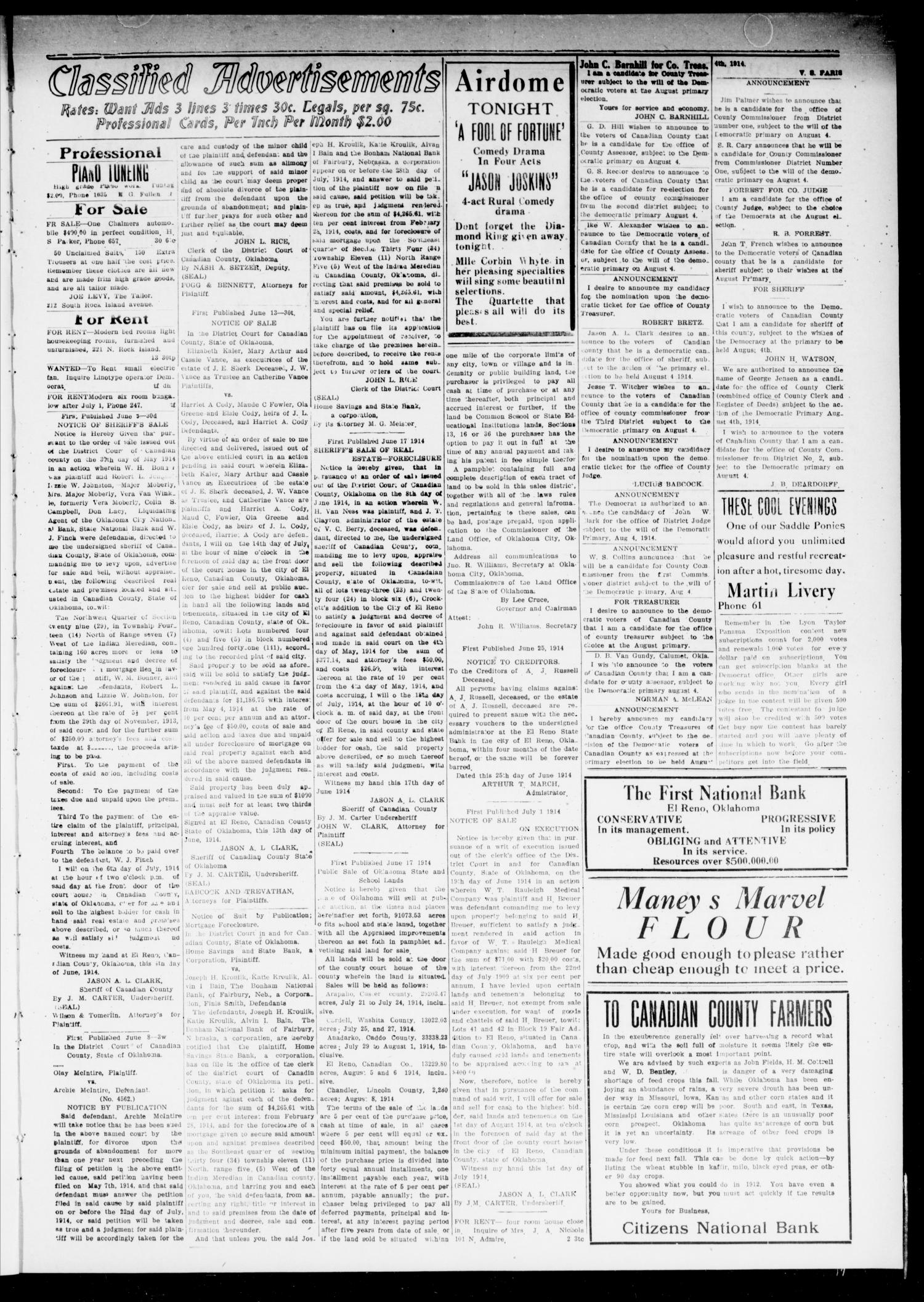 The El Reno Daily Democrat (El Reno, Okla.), Vol. 24, No. 113, Ed. 1 Monday, July 6, 1914                                                                                                      [Sequence #]: 3 of 4