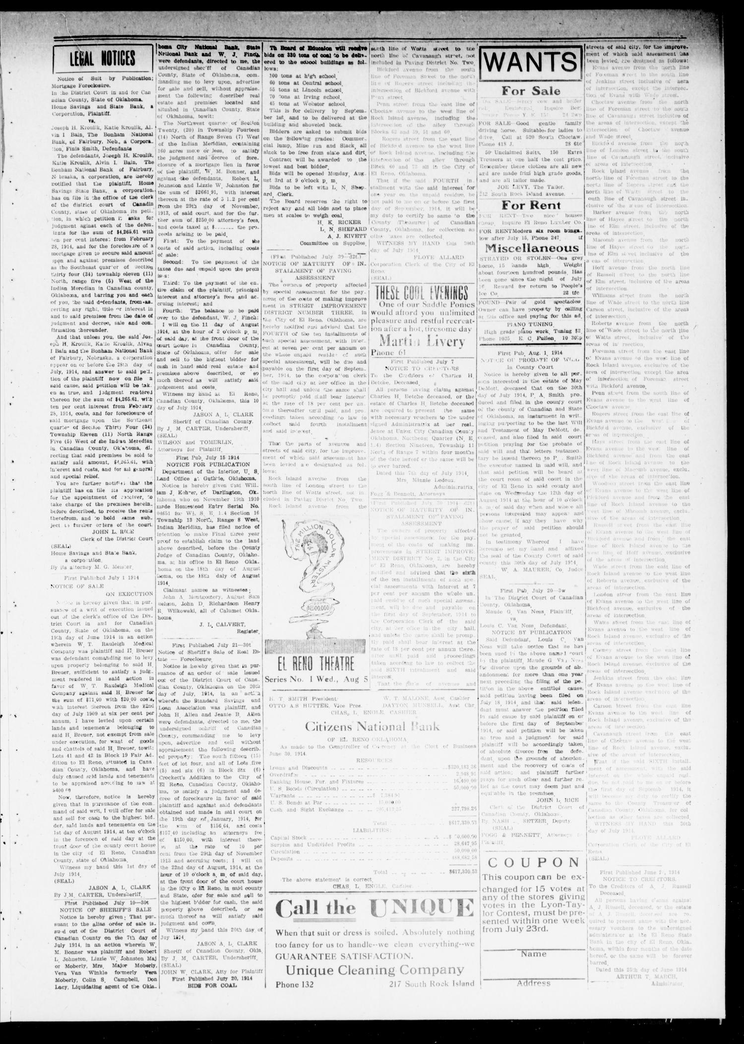 The El Reno Daily Democrat (El Reno, Okla.), Vol. 24, No. 137, Ed. 1 Monday, August 3, 1914                                                                                                      [Sequence #]: 3 of 4
