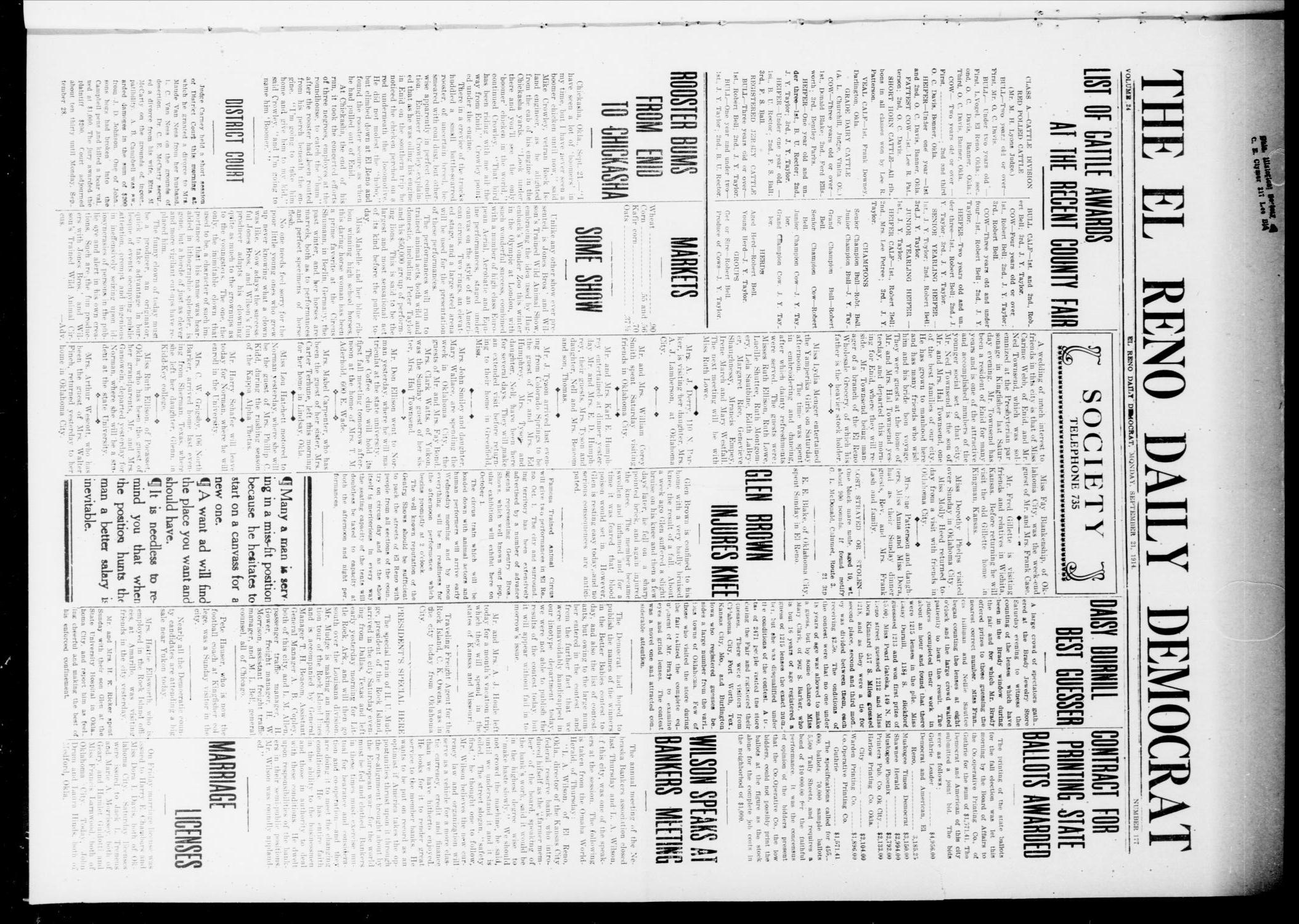 The El Reno Daily Democrat (El Reno, Okla.), Vol. 24, No. 177, Ed. 1 Monday, September 21, 1914                                                                                                      [Sequence #]: 1 of 4
