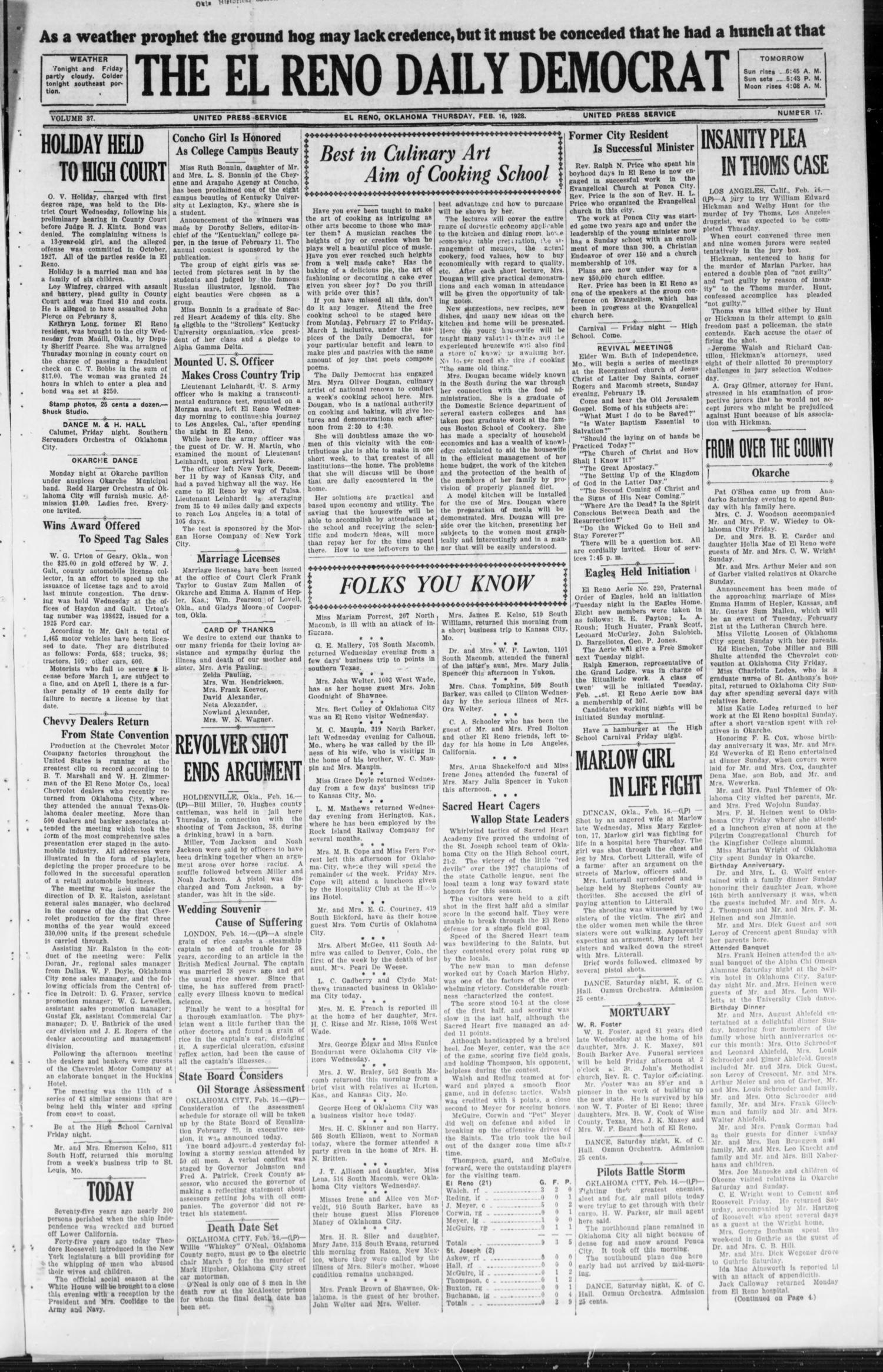 The El Reno Daily Democrat (El Reno, Okla.), Vol. 37, No. 17, Ed. 1 Thursday, February 16, 1928                                                                                                      [Sequence #]: 1 of 4