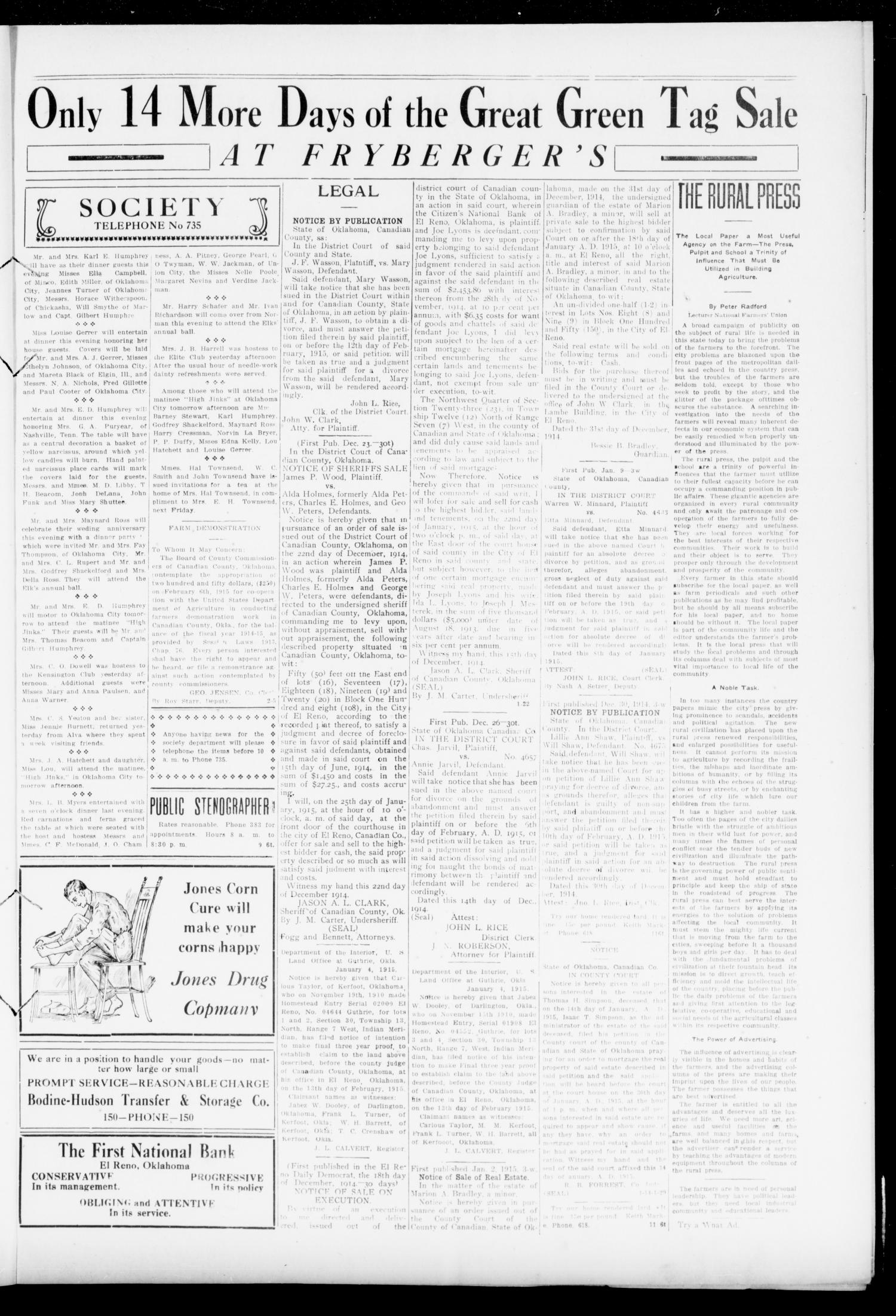 The Daily Democrat (El Reno, Okla.), Vol. 24, No. 267, Ed. 1 Friday, January 15, 1915                                                                                                      [Sequence #]: 3 of 4