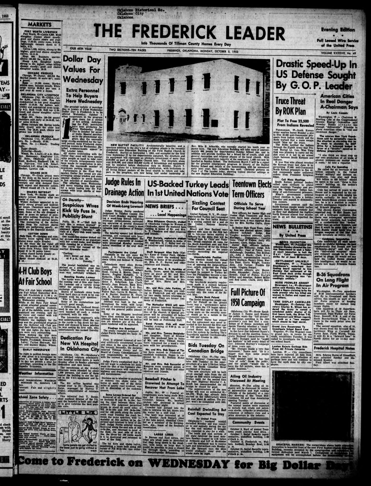The Frederick Leader (Frederick, Okla.), Vol. 47, No. 49, Ed. 1 Monday, October 5, 1953                                                                                                      [Sequence #]: 1 of 10