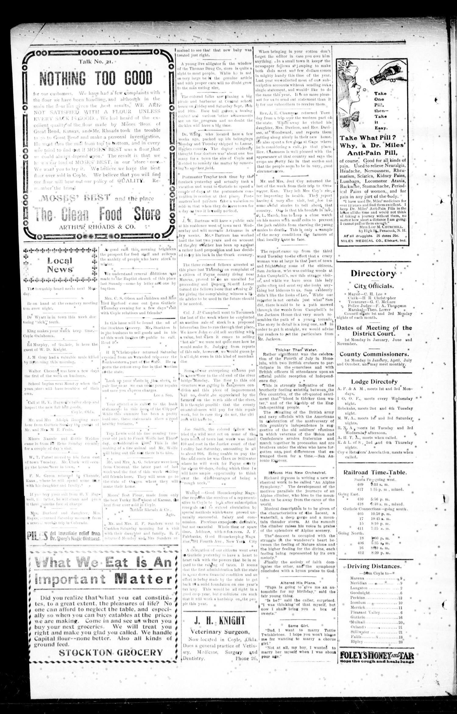 Cimarron Valley Clipper (Coyle, Okla.), Vol. 11, No. 16, Ed. 1 Thursday, September 7, 1911                                                                                                      [Sequence #]: 4 of 4
