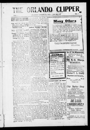 Primary view of object titled 'The Orlando Clipper (Orlando, Okla.), Vol. 9, No. 7, Ed. 1 Friday, January 22, 1915'.