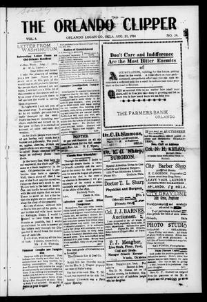 Primary view of object titled 'The Orlando Clipper (Orlando, Okla.), Vol. 8, No. 38, Ed. 1 Friday, August 21, 1914'.