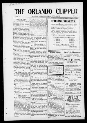 Primary view of object titled 'The Orlando Clipper (Orlando, Okla.), Vol. 9, No. 30, Ed. 1 Friday, July 2, 1915'.