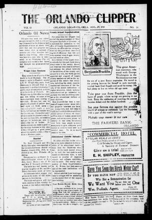 Primary view of object titled 'The Orlando Clipper (Orlando, Okla.), Vol. 10, No. 38, Ed. 1 Friday, August 25, 1916'.
