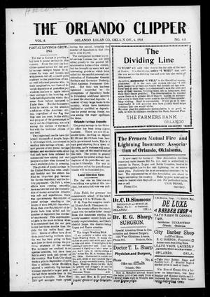 Primary view of object titled 'The Orlando Clipper (Orlando, Okla.), Vol. 8, No. 48, Ed. 1 Friday, November 6, 1914'.